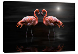 Tableau sur toile  Flamingos at night - Heike Langenkamp