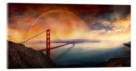 Tableau en verre acrylique  Frisco Golden Gate Rainbow - Michael Rucker