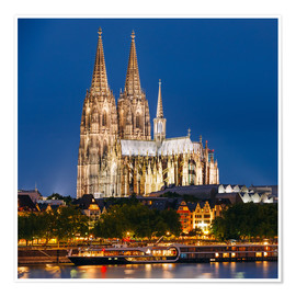 Poster  Night view of Cologne Cathedral
