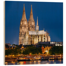 Tableau en bois  Night view of Cologne Cathedral