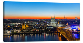 Tableau sur toile  Colorful Cologne skyline at night