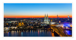 Poster  Colorful Cologne skyline at night