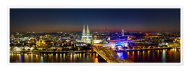 Poster  A panoramic view of cologne at night