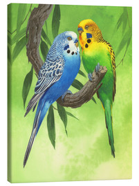 Tableau sur toile  25917 Budgies on Green Background - John Francis