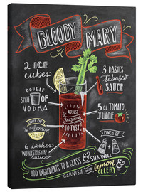 Tableau sur toile  Recette du Bloody Mary (anglais) - Lily & Val