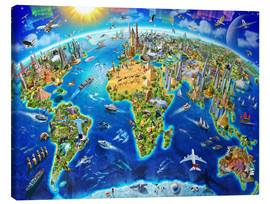 Toile  World Landmarks Globe - Adrian Chesterman