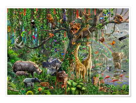 Poster  Animaux de la jungle - Adrian Chesterman