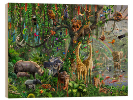 Tableau en bois  Animaux de la jungle - Adrian Chesterman