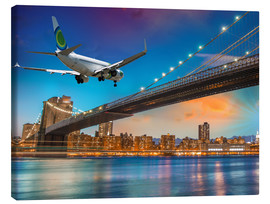 Tableau sur toile  Aircraft flying over Brooklyn Bridge in New York