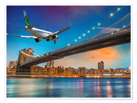 Poster Aircraft flying over Brooklyn Bridge in New York