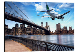 Tableau en aluminium  Un avion survolant New York