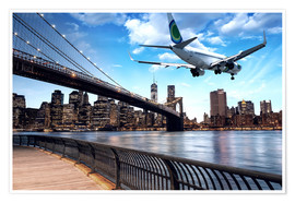 Poster  Un avion survolant New York