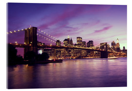 Verre acrylique  Brooklyn Bridge and Manhattan at purple sunset