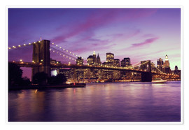 Poster  Brooklyn Bridge and Manhattan at purple sunset