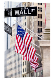 Verre acrylique  Wall street sign with New York Stock Exchange