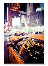 Poster  Yellow Cabs by night