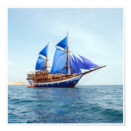 Poster  Vintage Wooden Ship with Blue Sails