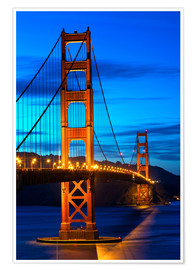 Poster Golden Gate Bridge at sunset, San Francisco