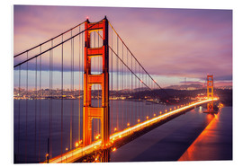 Tableau en PVC  Pont du Golden Gate la nuit, San Francisco