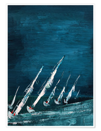 Poster Sailboats, abstract