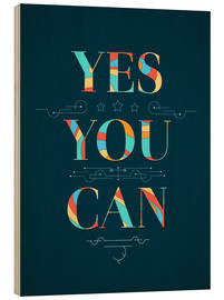 Tableau en bois  Yes you can - Typobox