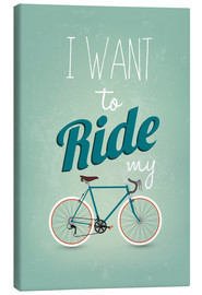 Toile  I want to ride my bike - Typobox