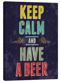 Tableau sur toile  Keep calm and have a beer - Typobox