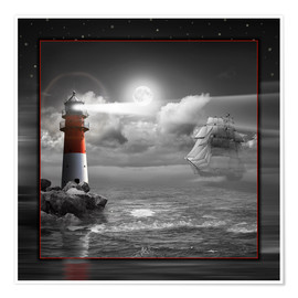 Poster Lighthouse and Sailboat in the Moonlight