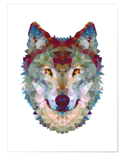 Poster Loup polygone