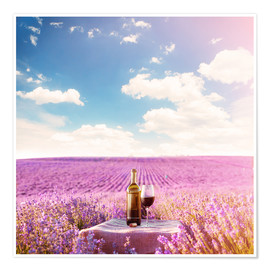 Poster  Red wine bottle and wine glass in lavender field