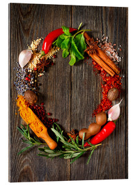 Tableau en verre acrylique  wreath of spices and herbs