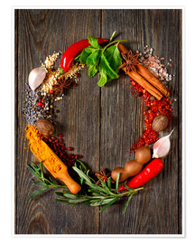 Poster  wreath of spices and herbs