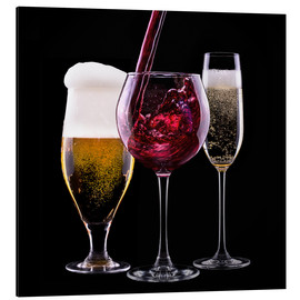 Alu-Dibond  drinks - beer, wine and champagne