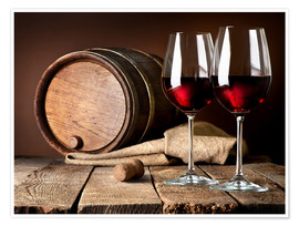 Barrel and wineglasses of red wine