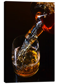 Tableau sur toile  whiskey and ice on a glass table