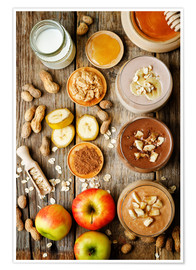 Poster  peanut butter smoothie with chocolate, apples, banana and oats