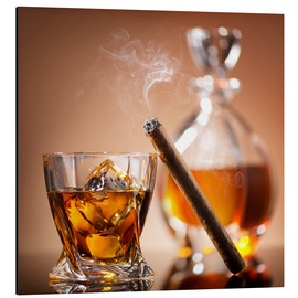 Alu-Dibond  Cigar on glass of whiskey with ice cubes