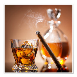 Poster Cigar on glass of whiskey with ice cubes