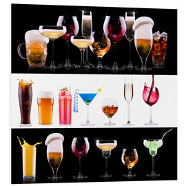 Tableau en PVC  drinks  - beer, wine, cocktail, juice, champagne, scotch, soda