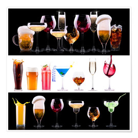 Poster  drinks  - beer, wine, cocktail, juice, champagne, scotch, soda