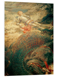 Tableau en PVC  Saint George and the Dragon - Briton Riviere