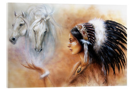 Verre acrylique  American Indian with horses