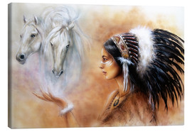 Toile  American Indian with horses