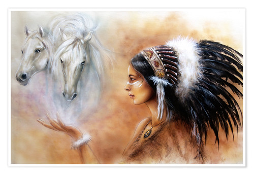 Poster American Indian with horses