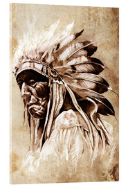Verre acrylique  Elder native American