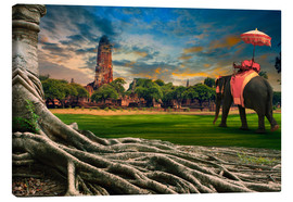 Tableau sur toile  big root of banyan tree and elephant
