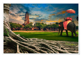 Poster  big root of banyan tree and elephant