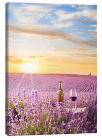 Toile  Bottle of wine in lavender field