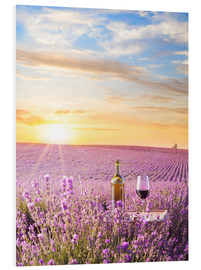 Forex  Bottle of wine in lavender field