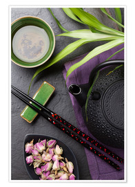 Poster  Asian sushi chopsticks, tea and teapot